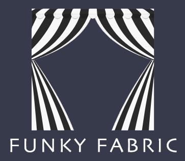 funky fabrics logo blue